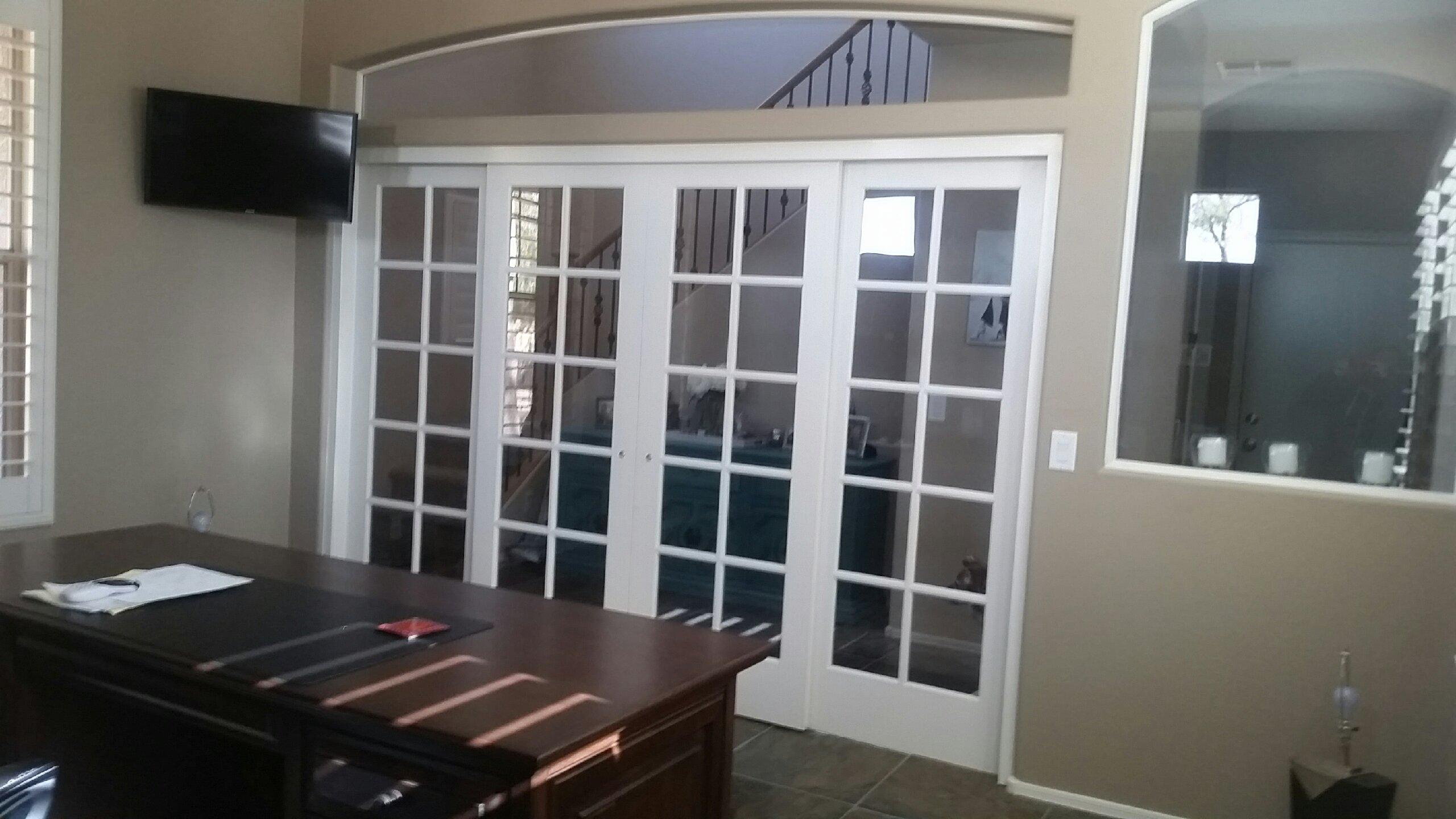 Installation of four french sliding doors system for Interior doors installation services